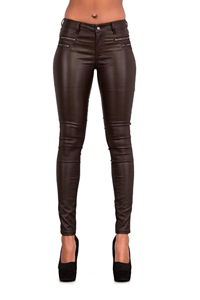 LEATHERETTE PU WET LOOK TROUSERS