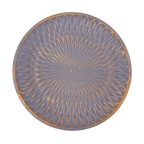 Flanacom Deko Tablett Dekoschale Mit Verzierungen Als Moderne Tischdekoration Tischdeko Für Die Wohnung Rund Grau