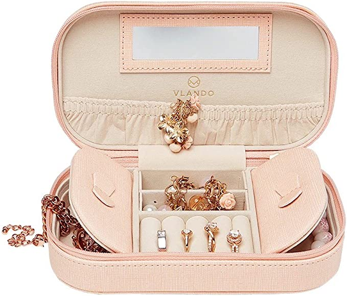 Faux Leather Tassels Travel Jewelry Box Organizer Display Storage Case