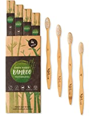 Earth Kissed Bamboo Toothbrushes   Family 4 Pack   BPA Free & Vegan Friendly   Zero Waste Packaging   Soft/Medium Bristles   100% Recyclable EcoNylon and Biodegradable Moso Bamboo   by Olive
