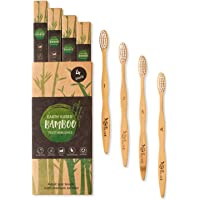 Earth Kissed Bamboo Toothbrushes | Family 4 Pack | BPA Free and Vegan Friendly | Zero Waste Packaging | Soft/Medium Bristles | 100% Recyclable EcoNylon and Biodegradable Moso Bamboo | By Olive