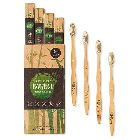 Cepillo de dientes de bambú de tierra besada, 4 unidades, tamaño adulto, cerdas