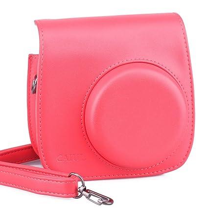 59172e42c1c8 Amazon.com    Fujifilm Instax Mini 8 Case  - CAIUL Comprehensive Protection  Instax Mini 8 Camera Case Bag With Soft PU Leather Material (Raspberry)    Camera ...