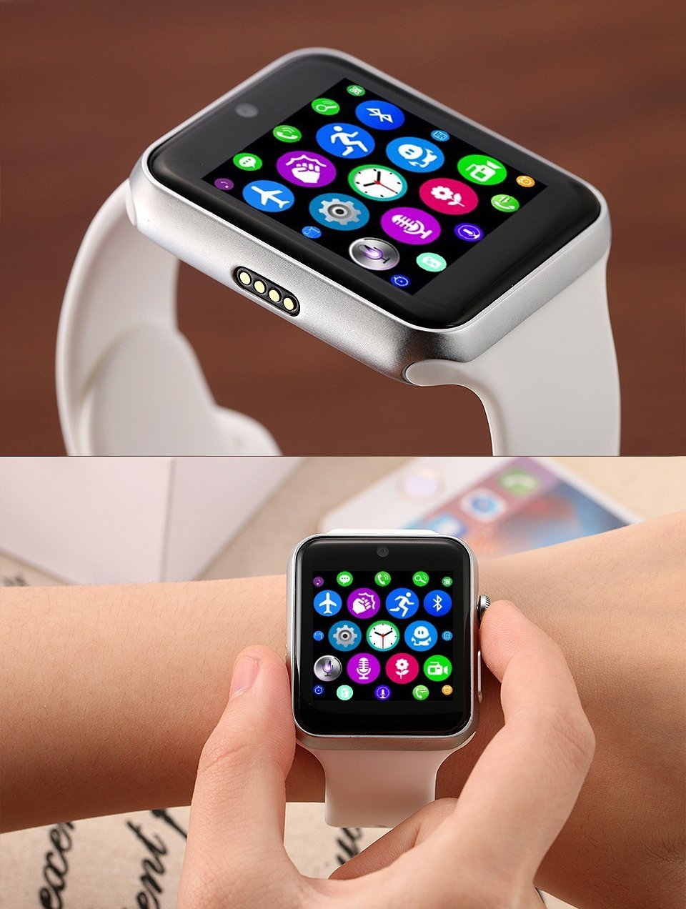 Amazon.com: ⌚ LEMFO LF07 Bluetooth Smart Watch SmartWatch for Apple iPhone iOS Android Smartphones Looks Like Apple Watch Reloj Inteligente (White Silver): ...