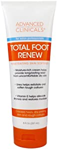 Advanced Clinicals Total Foot Renew Cream- Relief for Dry Itchy Skin, Tough Calluses, Cracked Heel. (8oz)