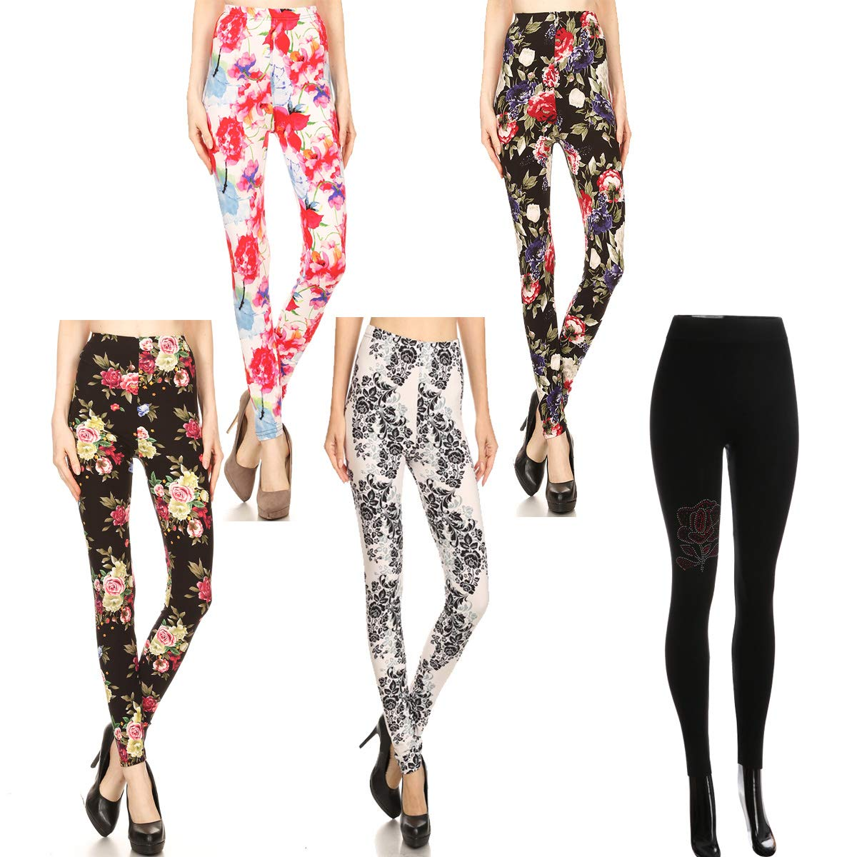 Wholesale Floral Leggings for Women Flower Print Design Pattern, One Size 5-Pack