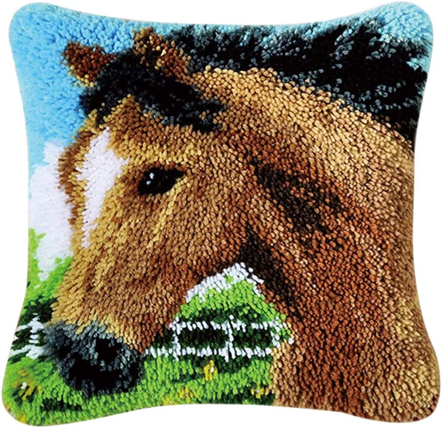 Horse SM SunniMix Decorative Animals Latch Hook Kits Embroidery Pillow Case Cushion Cover 43x43cm