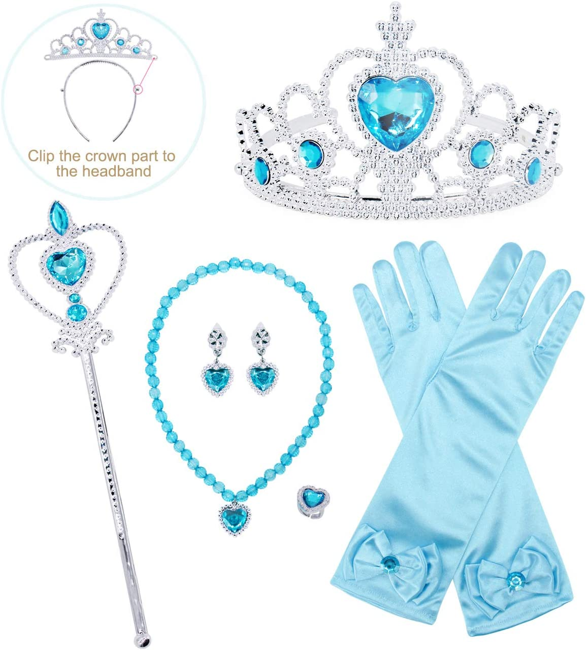 Aurora Princess Accessories 6pcs Costume Accessories with Crown Scepter Gloves Necklace Earrings Ring Rose