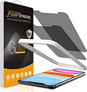(2 Pack) Supershieldz for Apple iPhone 11 and iPhone XR (6.1 inch) (Privacy) Anti Spy Tempered Glass Screen Protector with (Easy Installation Tray) Anti Scratch, Bubble Free
