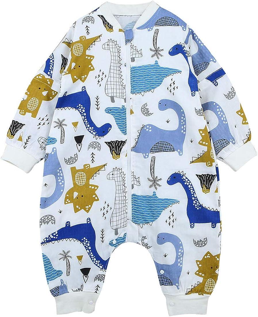 Happy Cherry Baby Langarm Schlafsack Sommer Weich Baumwolle Overall Schlafanzug Separate Beine Strampelsack mit Abnehmbare /Ärmel