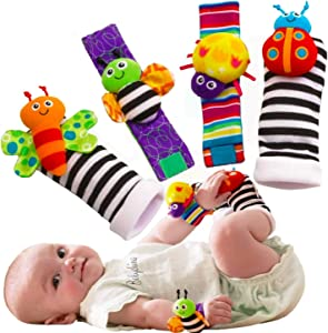 BABYCHINO Foot Finders & Wrist Rattles for Infants Developmental Texture Toys for Babies & Infant Toy Socks & Baby Wrist Rattle – Newborn Toys for Baby Girls & Boys. Baby Boy Girl Toys 0-3 3-6 Months