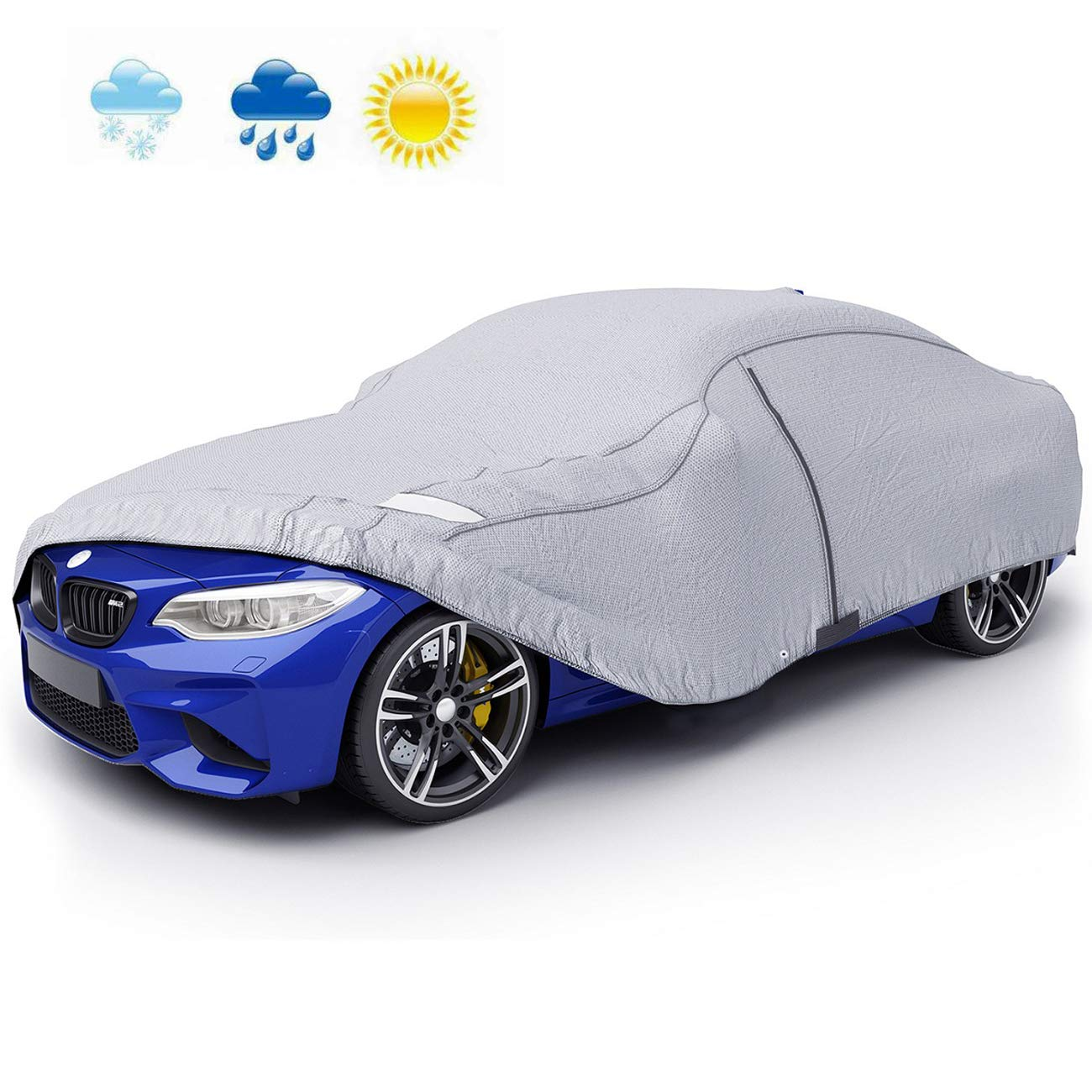 VETOMILE Car Cover Waterproof UV Protection Breathable Outdoor Indoor Sedan  Cover for All Weather with Door Zippered Opening for Easy Access(470 * 180