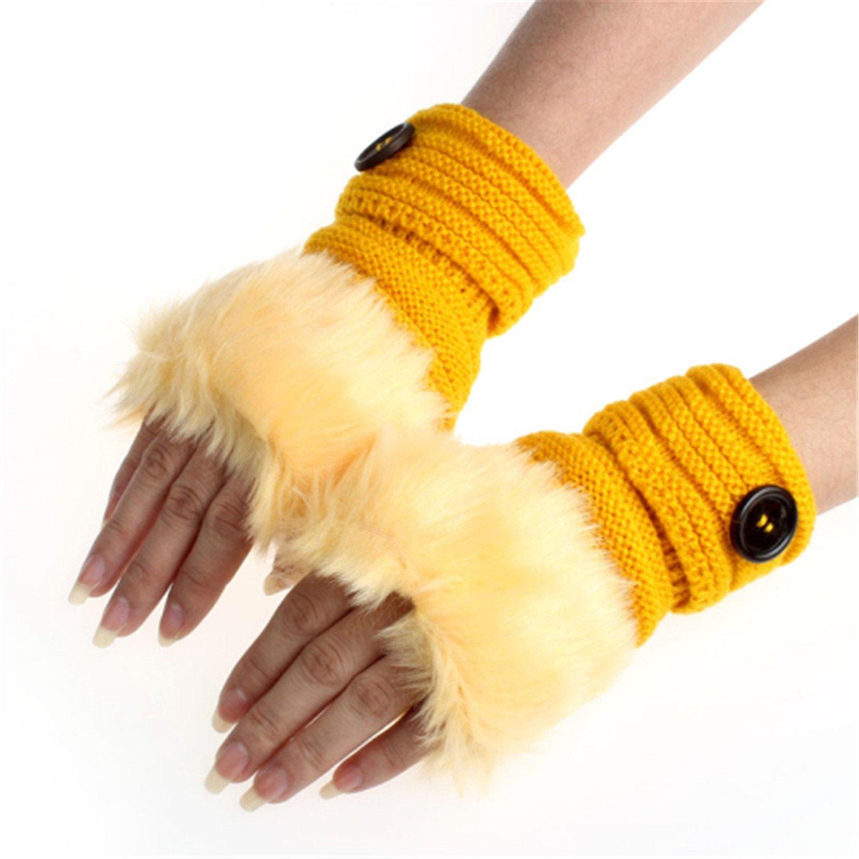 Better Annie Amaizng Fashion Winter Knitted Faux Fur Fingerless Gloves Women Wrist Soft Warm Mitten B