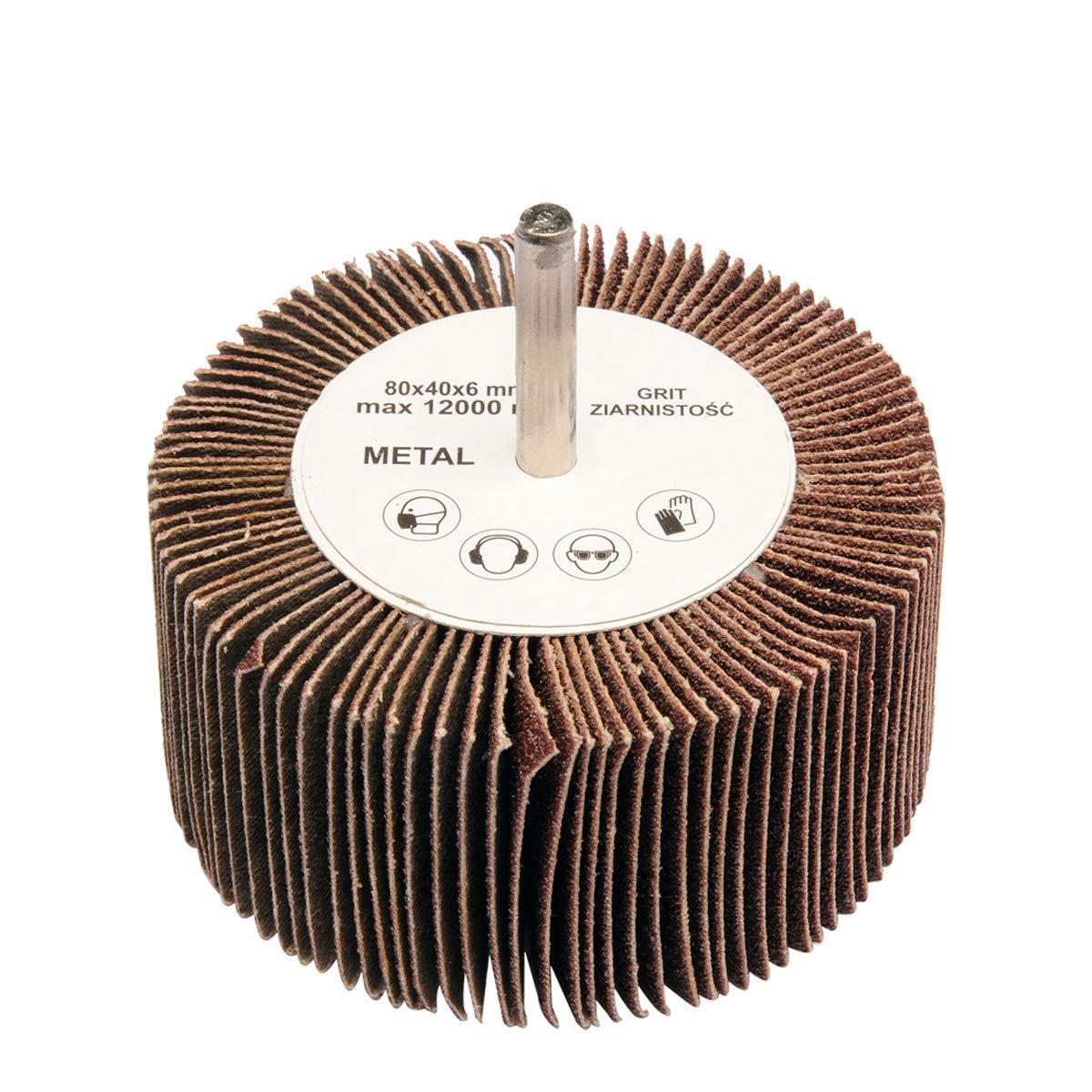 Fächerschleifer Ø 80 mm Schleifmop mit Schaft Korn 40 Schleifer