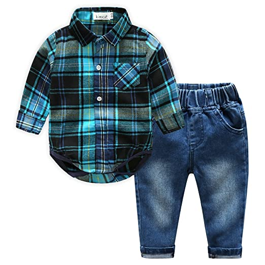 703e57617 Kimocat Casual Suit for Toddler Boy 2Pcs Long Sleeve Plaid Shirt Onesies  and Jeans Outfits(