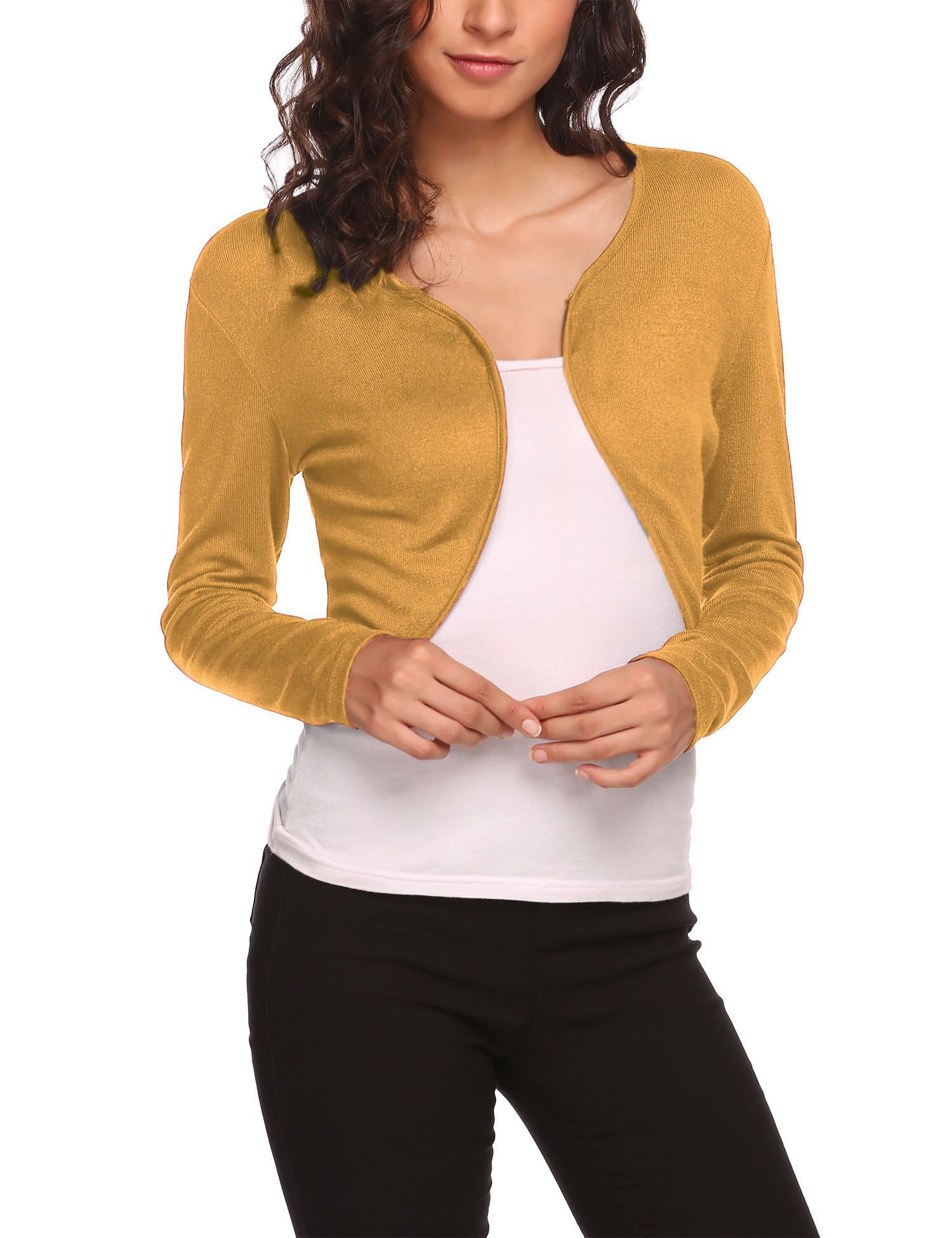 1e3f59956437 Galleon - HOTOUCH Women s Long Sleeve Bolero Shrug Open Front Pleated  Cardigan Jacketdark Yellow XXL