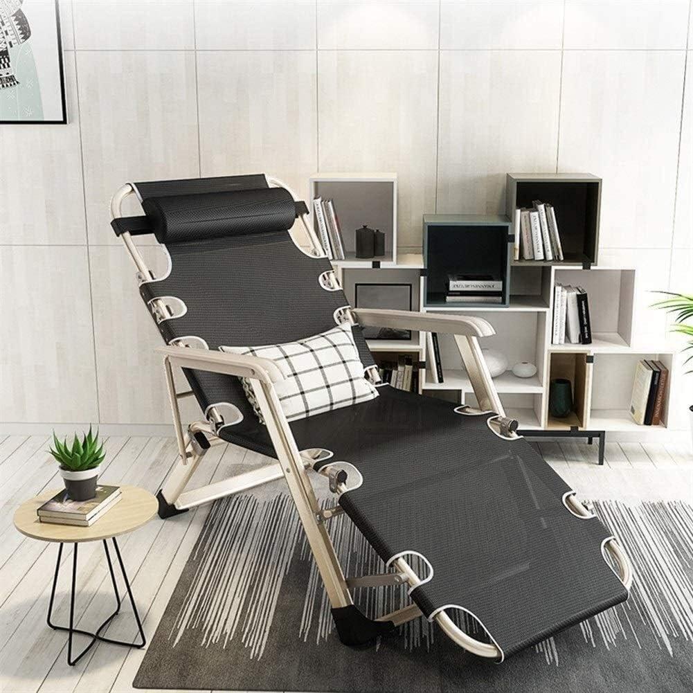 DAGCOT Reclining Chaises Pliantes extérieur Lit Pliant Lit Simple Lit Simple Chaise Lunchtime Pliant Déjeuner Chaise Pause Bureau Siesta Bed (Color : A) A
