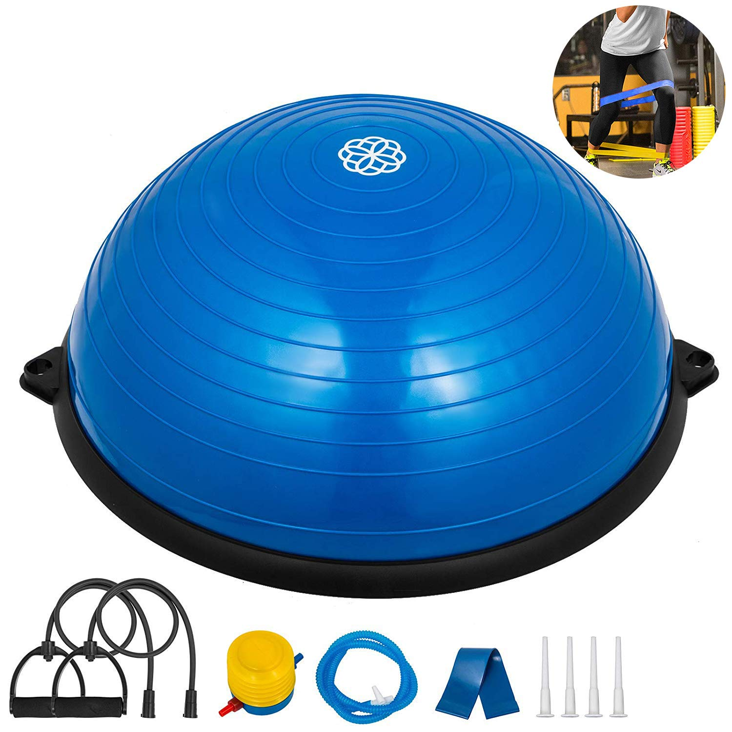 Happybuy 23 inches Yoga Half Ball Dome Balance Trainer Fitness Strength Exercise Workout with Pump and Resistance Band (Blue) by Happibuy
