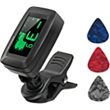 Guitar Tuner Digital Clip-on Tuner for Acoustic Electric Classical Guitars,Ukulele,Bass,Violin,Mandolin,Banjo,Large Clear LCD Display for Guitar Tuners,Cello Tuner with Guitar Picks