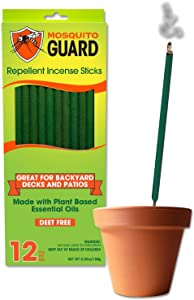 Mosquito Guard Incense Repellent Sticks – 12 Inch Incense Sticks Made with Natural Plant Based Ingredients: Citronella, Lemongrass & Rosemary Oil - 12 Sticks Per Box