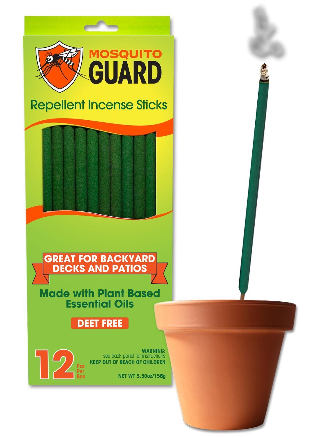 Mosquito Guard Incense Repellent Sticks – 12 inch Incense Sticks Made with Natural Plant Based Ingredients: Citronella, Lemongrass & Rosemary Oil - 12 Sticks per Box by Mosquito Guard