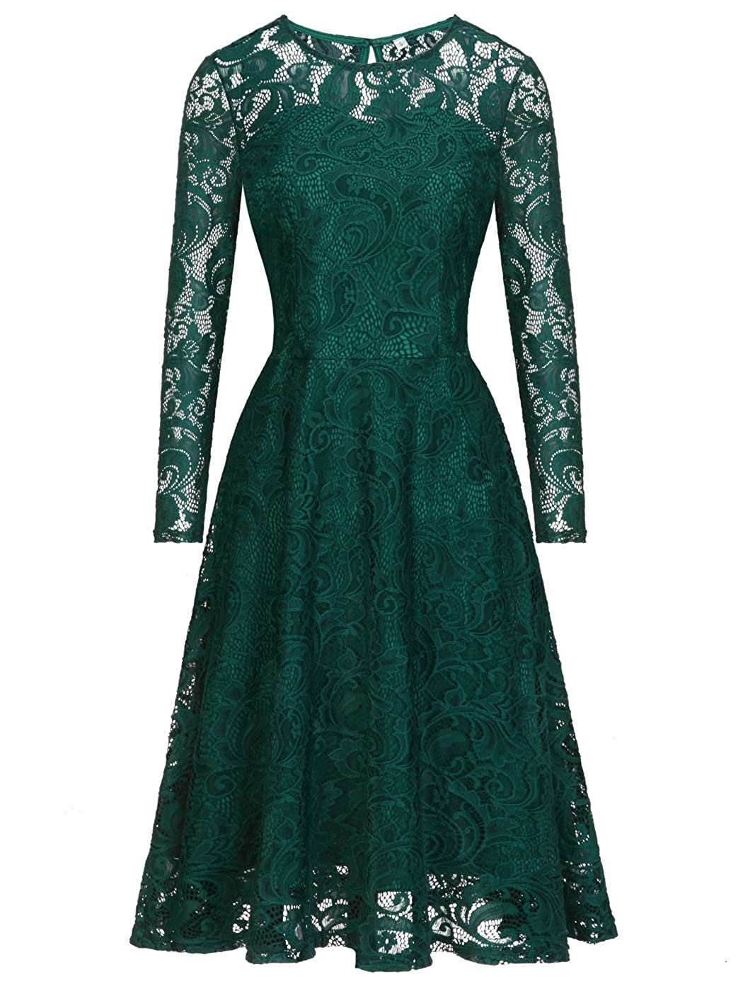 031green FAIRY COUPLE Short Vintage Floral Juniors Lace Dress with Long Sleeve for Party Wedding Cocktail