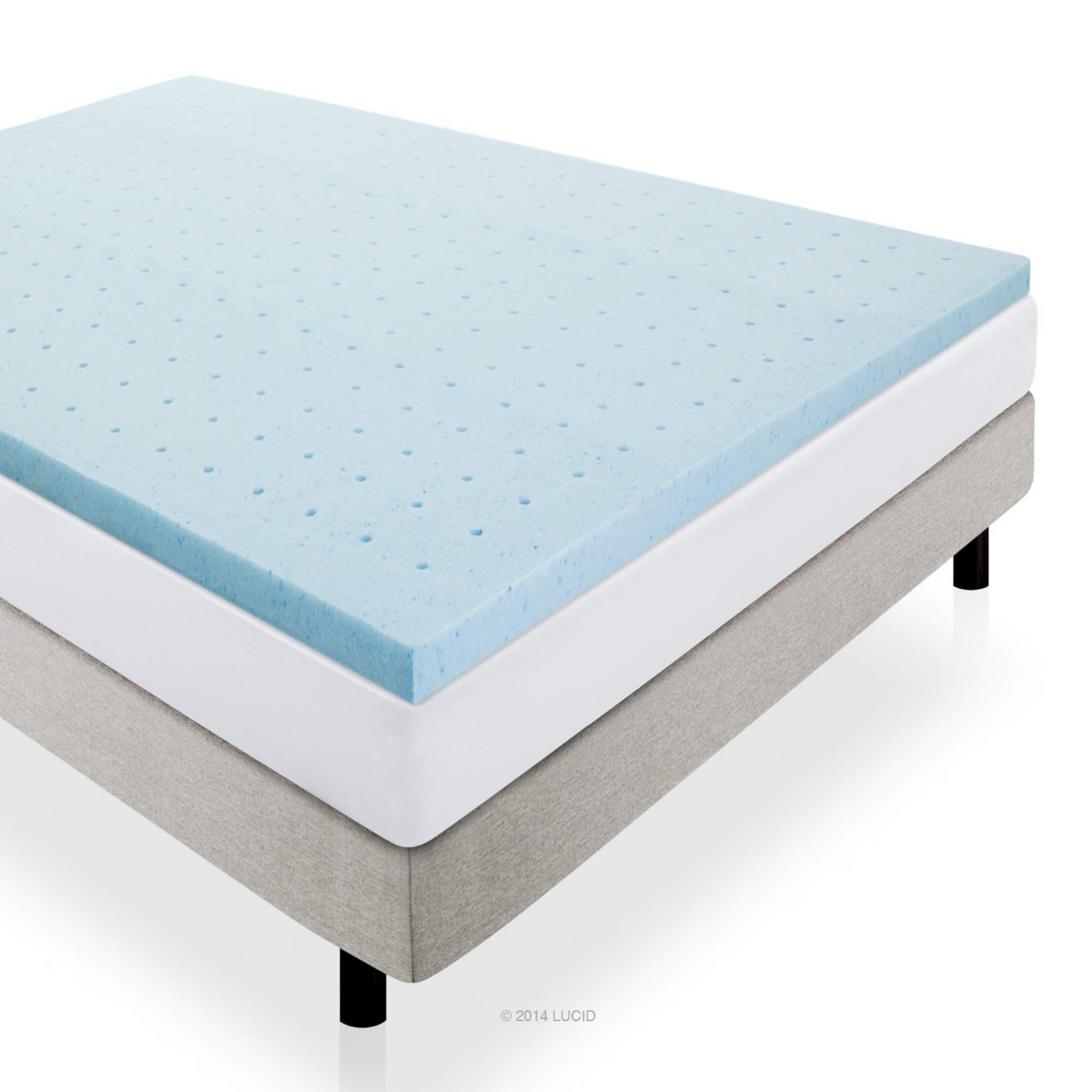 LUCID 2'' Gel Infused Ventilated Memory Foam Mattress Topper, Twin X-Large