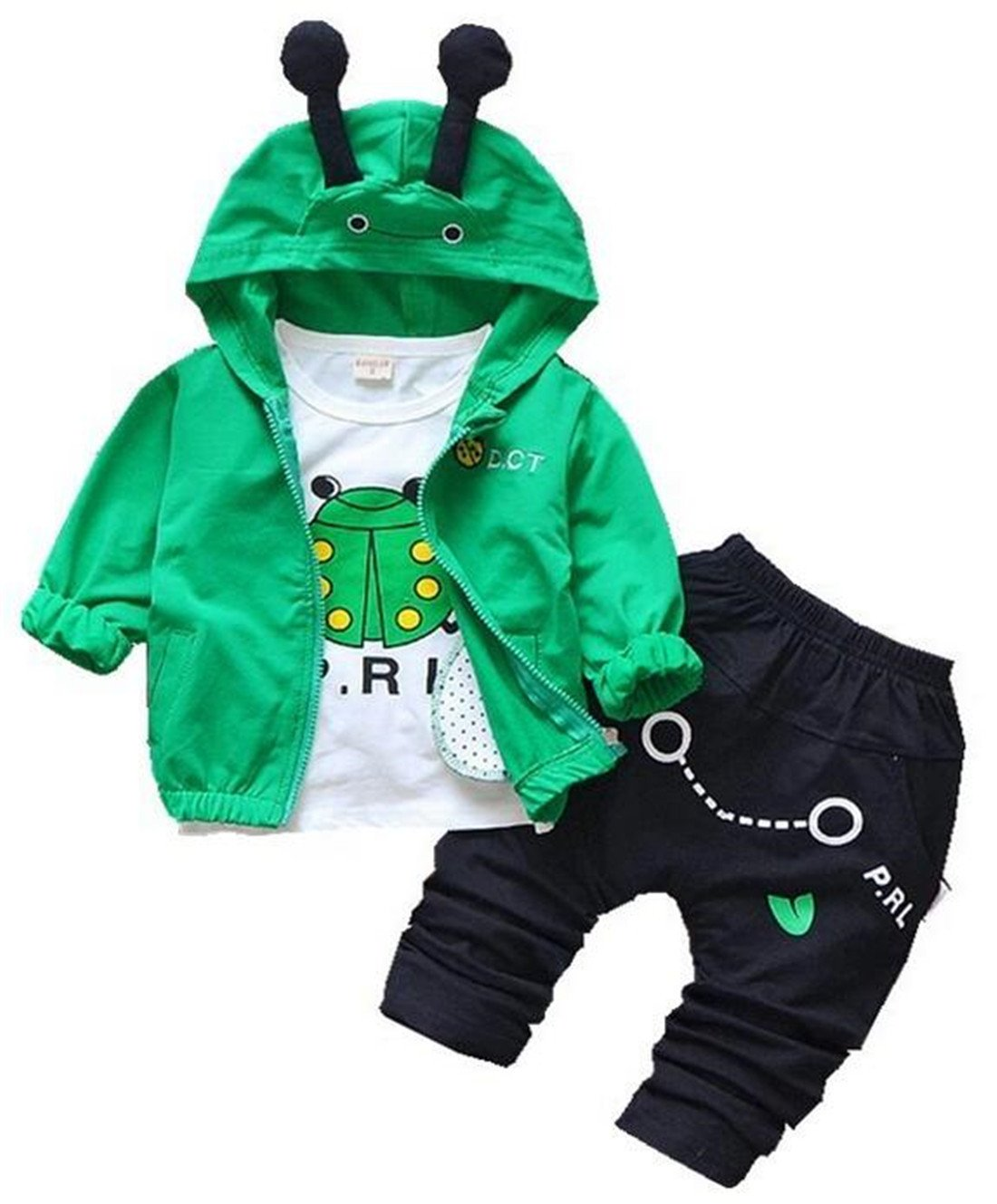 UNIQUEONE 3Pcs Toddler Boys Cute Cartoon Hooded Jacket+T-Shirt+Pant Tracksuit Outfit Size 6-12 Months/Tag80 (Green)