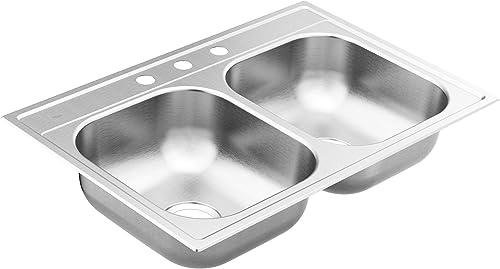 Moen GS222163 2200 Series 33-inch 22 Gauge Drop-in Double Bowl Stainless Steel Kitchen Sink, 3 Hole