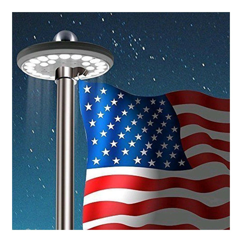 Flag Pole 26 LED Solar Powered Automatic Light Night Super Bright Flagpole US