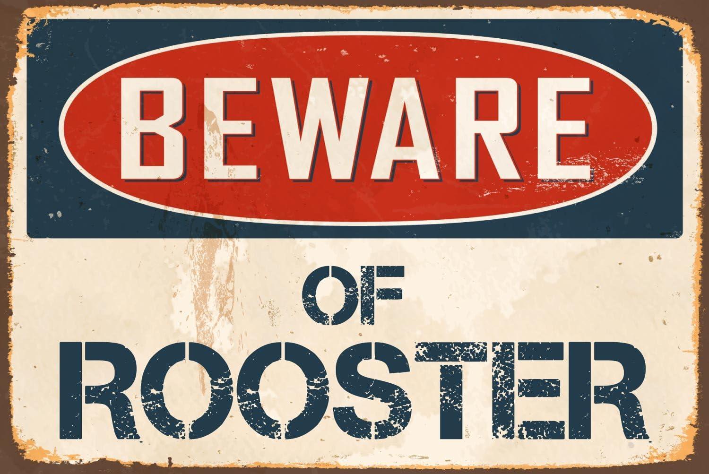 "StickerPirate Beware of Rooster 8"" x 12"" Vintage Aluminum Retro Metal Sign VS475"