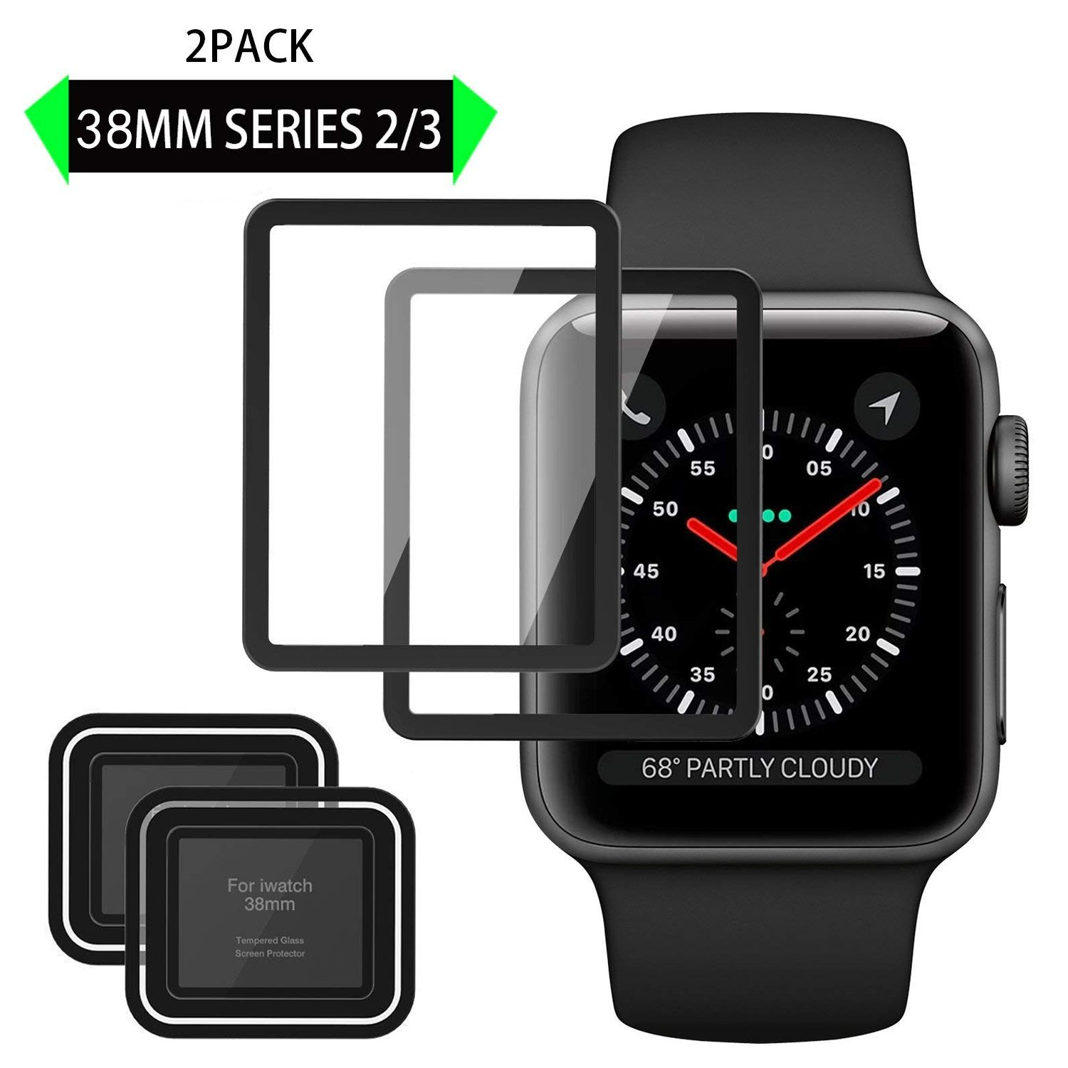 Elinkee Apple iWatch Screen Protector 38mm, [2 Pack] [Anti-Scratch] [High Definition] Premium Tempered Glass Screen Protector for Apple Watch 38mm Series 3/2 by Elinkee