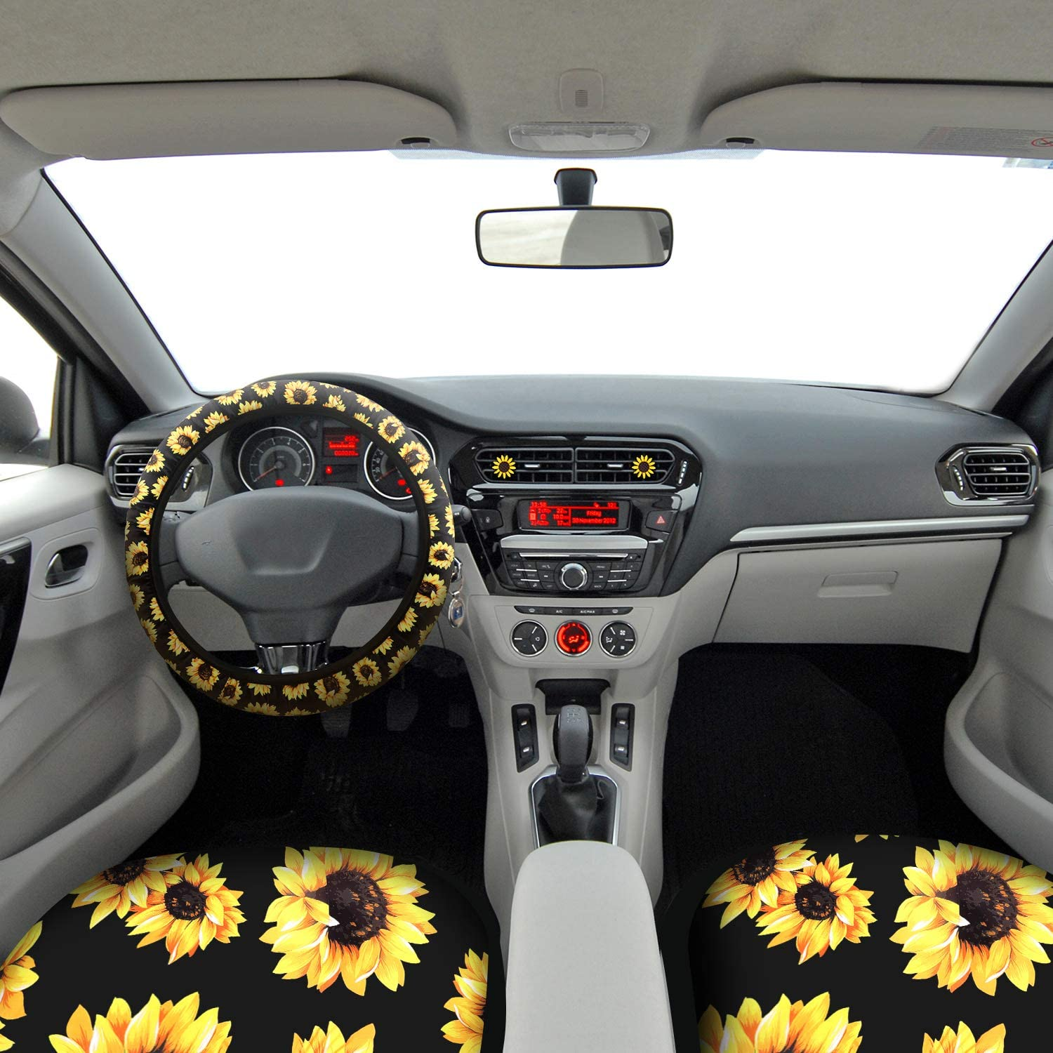 2 Car Shoulder Pads Boao 8 Pieces Sunflower Pattern Car Accessories 2 Car Vent Clips and 1 Aluminum Metal License Plate Cover 1 Steering Wheel Cover Include 2 Sunflower Front Seat Covers