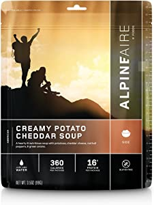 Alpine Creamy Potato Cheddar Soup Freeze-Dried/Dehydrated Entrée Meal Pouch, Just-add-Water, 2-Servings per Pouch, Gluten-Free, 8g of Protein per Serving
