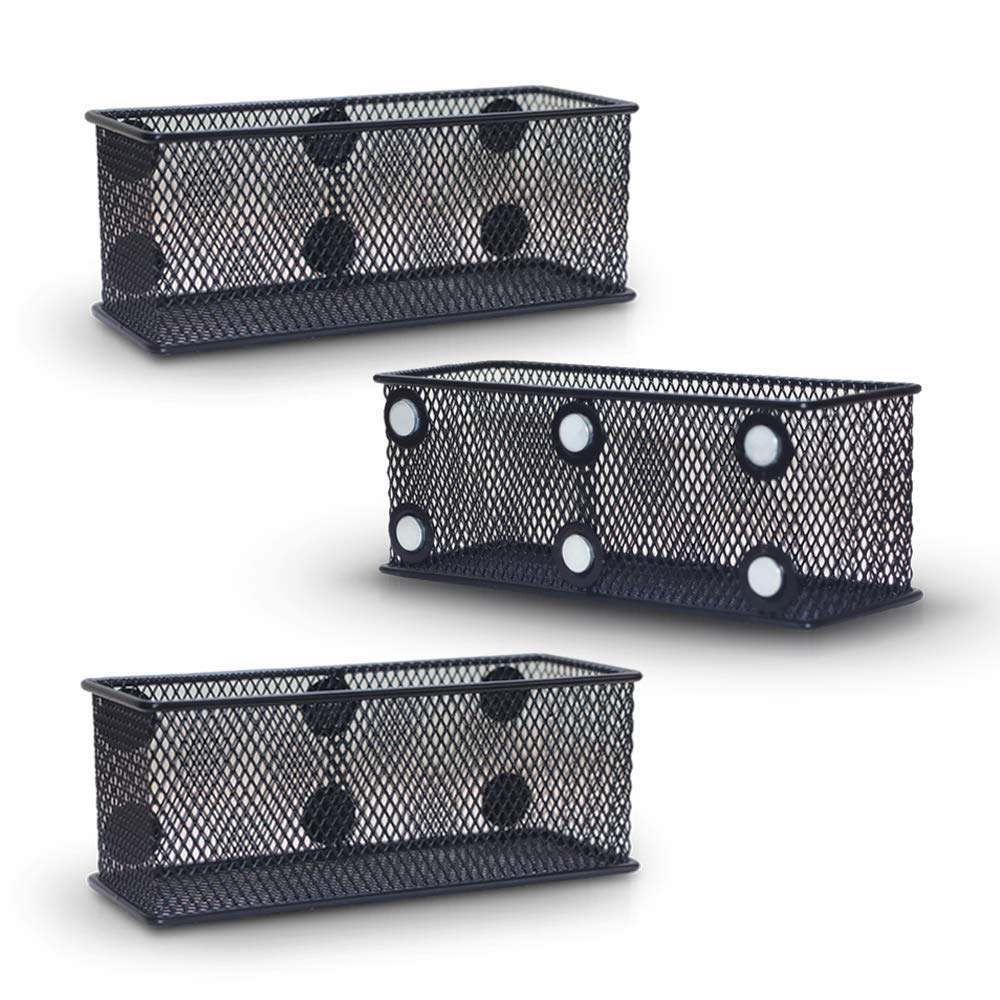 Aarya Magnetic Storage Basket, Black Mesh Bins for Office Supplies, Set of 3 Wire Organizer with 6 Heavy-Duty Magnets, Keeps Workplace Clutter-Free