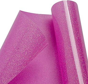 hoho Sparkle Glitter transferencia de calor vinilo HTV prensa hoja papel para ropa Holo Rosa 20