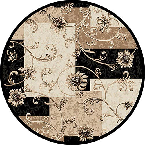 Area Rugs Transitional Oriental 8×8 Floral Persian Round Actual – 7 10 x 7 10 Beiges