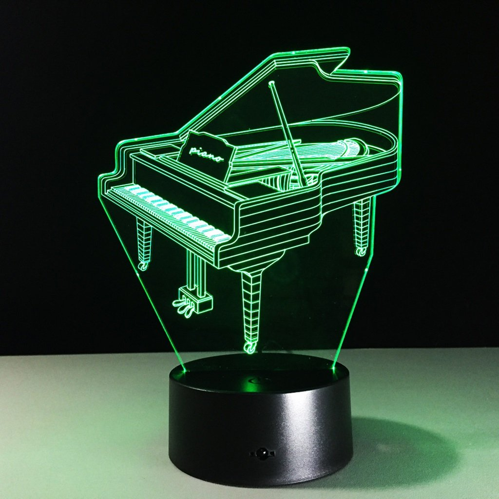 WBYD 3D Night Light Visualization Glow 7 Color Change USB Touch Button and Intelligent Remote Control Desk Table Lighting Nice Gift Home Office Decorations Toys  (Piano)
