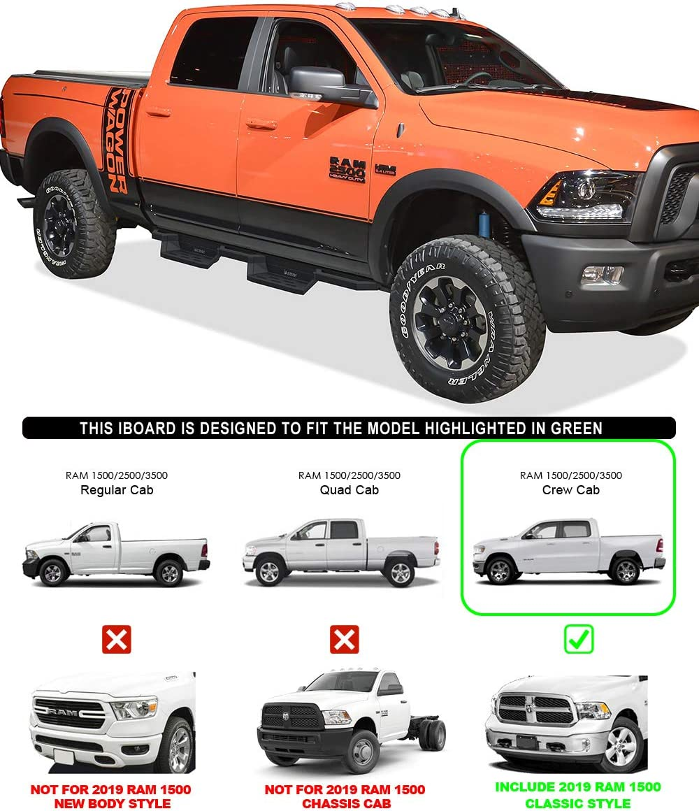 Drilling Required for Some Models Nerf Bar | Side Steps | Side Bars HD Ridez Side Steps Aluminum Armor Compatible with Dodge Ram 1500 2009-2018 Crew Cab /& Ram 2500 3500 2010-2020