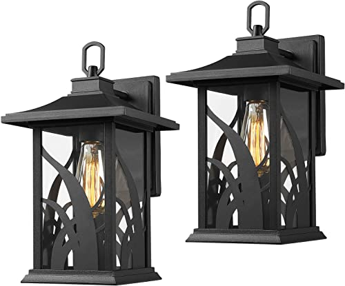 Beionxii Outdoor Wall Lights Twin-Pack Exterior Light Fixtures Wall Mount, Sand Textured Black Cast Aluminum with Clear Glass – A331W-2PK