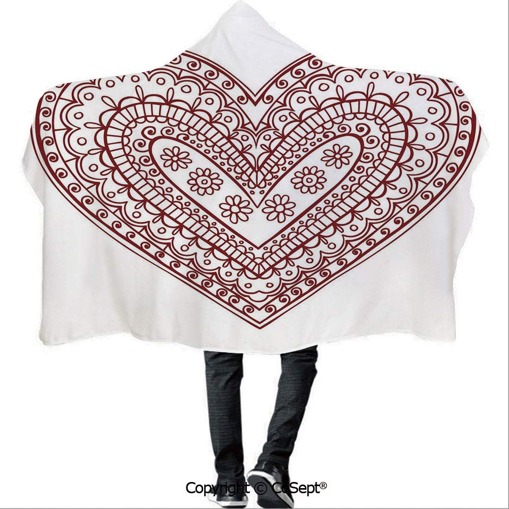 AmaUncle Wearable Hooded Blanket,Paisley Doodle in Heart Shapes Little Blossoms Swirls Curves Hippie Sixties Influence,Unisex All Ages One Size Fits All(59.05x51.18 inch),Ruby White by AmaUncle