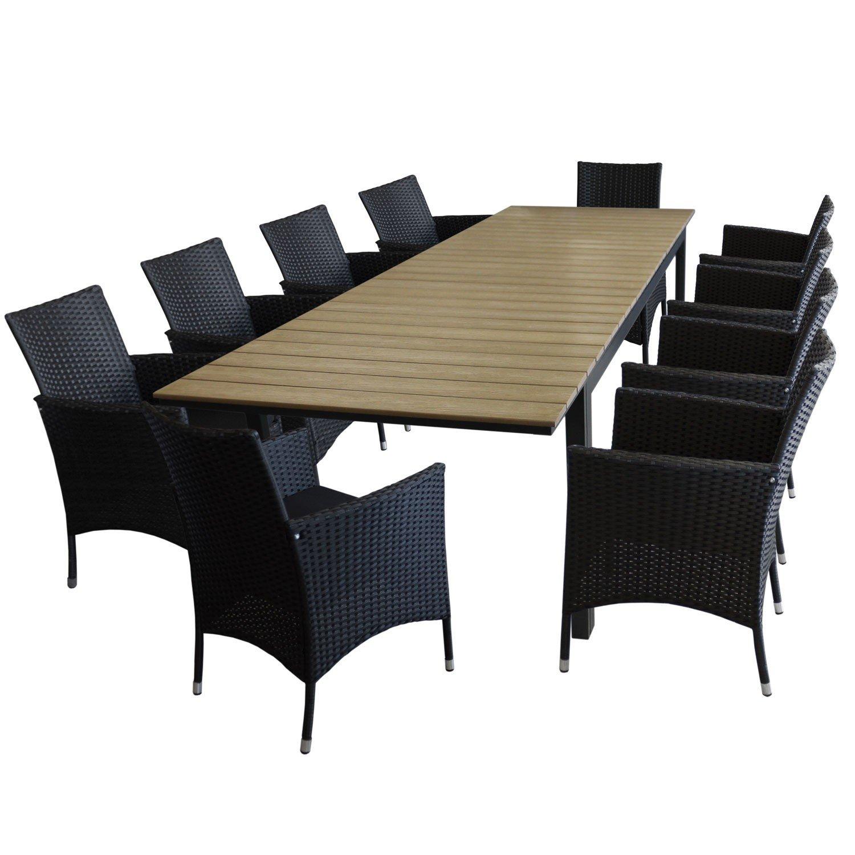 11tlg gartengarnitur gartentisch ausziehbar aluminiumrahmen polywood tischplatte brown grey. Black Bedroom Furniture Sets. Home Design Ideas
