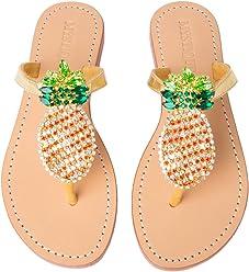 69a0a7526e2f8 Mystique Original Genuine Leather Handmade Rhinestone Pineapple Jeweled    Embellished Women s Leather Thong Flat Sandals