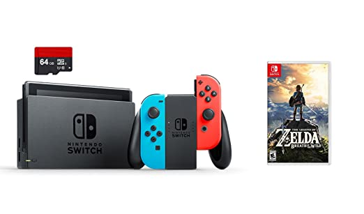 Amazon Com Nintendo Swtich 3 Items Bundle Nintendo Switch 32gb Console Neon Red And Blue Joy Con 64gb Micro Sd Memory Card And The Legend Of Zelda Breath Of The Wild Video Games