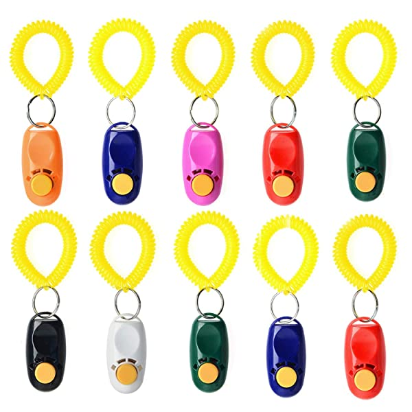 Rocutus 10 Pieces Colorful Pet Dog Training Clicker,Pet Training Clicker Button Clicker with Wrist Strap,Train Dog, Cat, Horse, Pets for Clicker Training (10 Pieces) (Color: 10 Pieces)