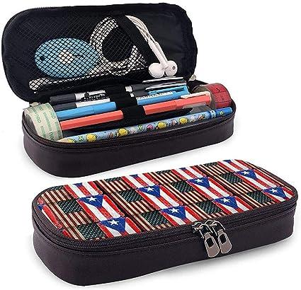 Estuche de lápices de cuero con bandera de Puerto Rico, EE. UU. Útiles escolares para escolares Útiles escolares: Amazon.es: Oficina y papelería