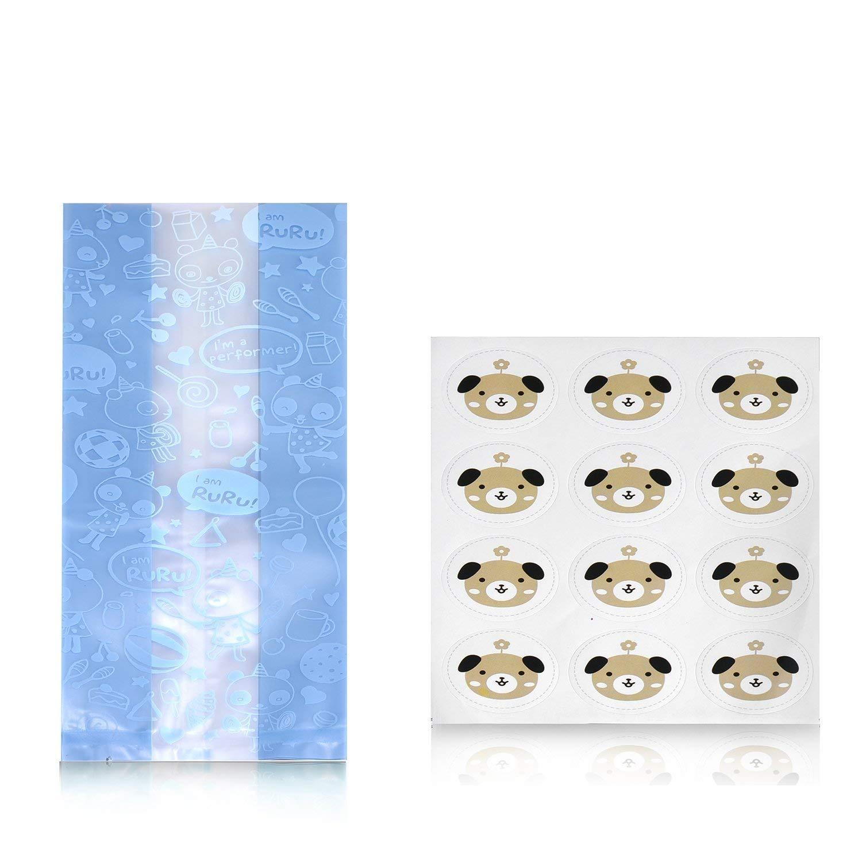 Syndecho 48 Pezzi Blu Sacchetti Bustine Plastica Alimentari per Bomboniera Dolci Alimenti Confetti Biscotti+ Adesivo del Cane 22.3x8.6x5.8cm