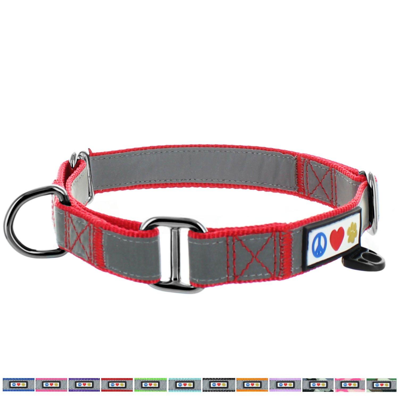 Pawtitas Pet Reflective Adjustable Soft Dog Collar Martingale Training Red Medium 3/4 inch