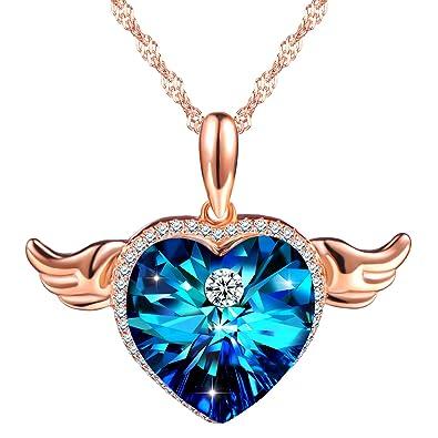 eece467baeed sixluo  quot alas de ángel quot  amor corazón colgante de cristal plata de  ley 925