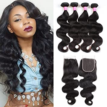 3/4 Bundles With Closure Peruvian Loose Deep Hair Weaves 3 Bundle With Closure Natural Color Loose Curly Ocean Wave Human Hair Free Middle 3 Part Closure Fine Craftsmanship Human Hair Weaves